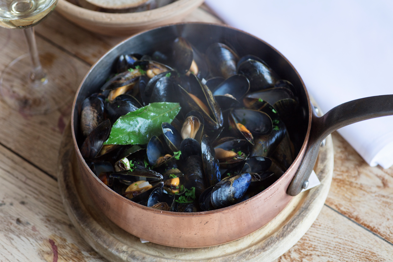 Fred Berkmiller's Steamed Mussels Marinière