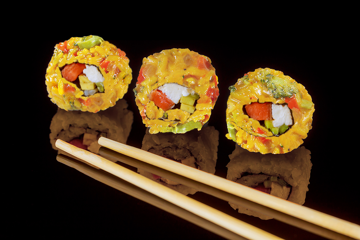 California Paella Roll - Delicious special roll stuffed with paella.