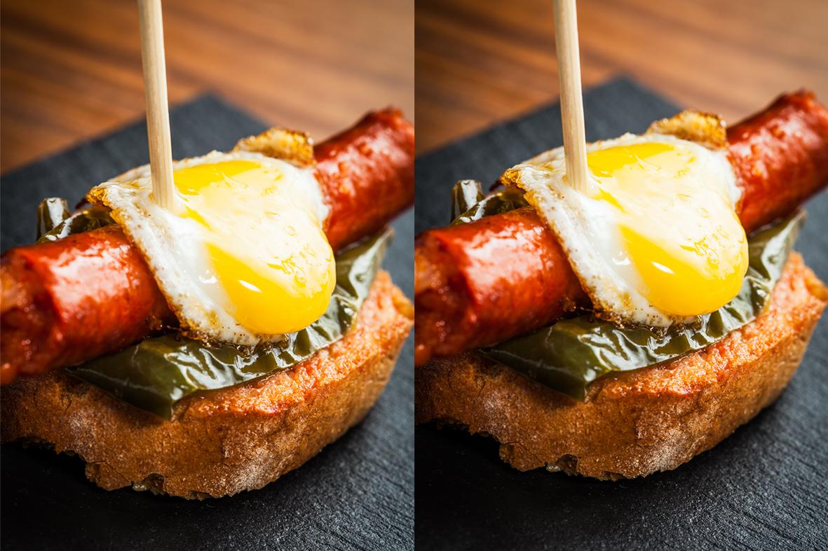Bilbao - Fried Basque sausage with quail egg and pepper.