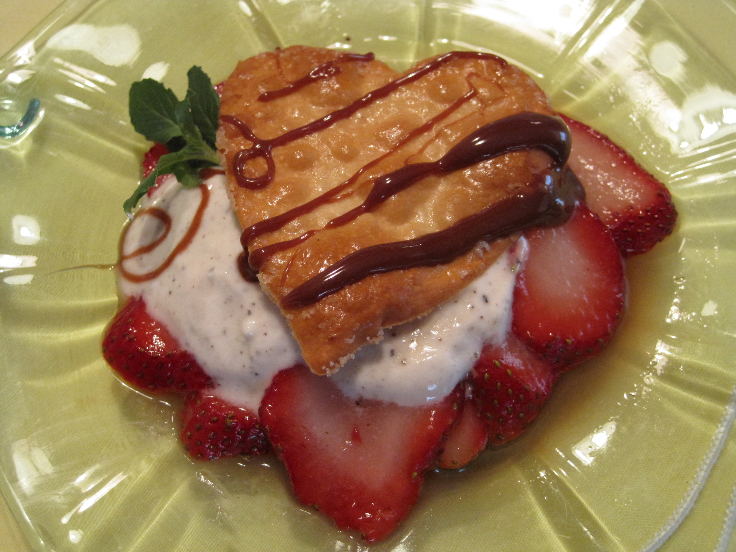 Strawberries and Crispy Wonton Bites