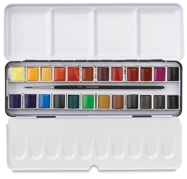 If you've taken my online classes, you've hear me rave about  Sennelier  and  Schmincke , these two brands are extremely high quality watercolors, pan sets are available in different sizes.