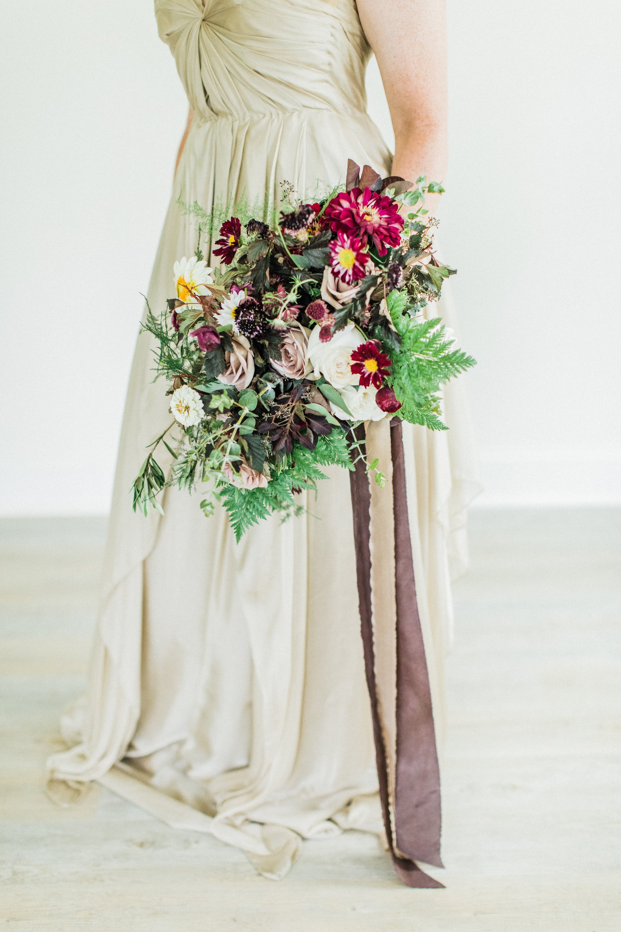 Beautiful draping + layers of silk. Dress from  LVD Bridal , photography by  Sarah Sidwell Photography , florals by Emily Kennedy of  Kennedy Occasions ,   styling by jennifer of {feather + oak}.