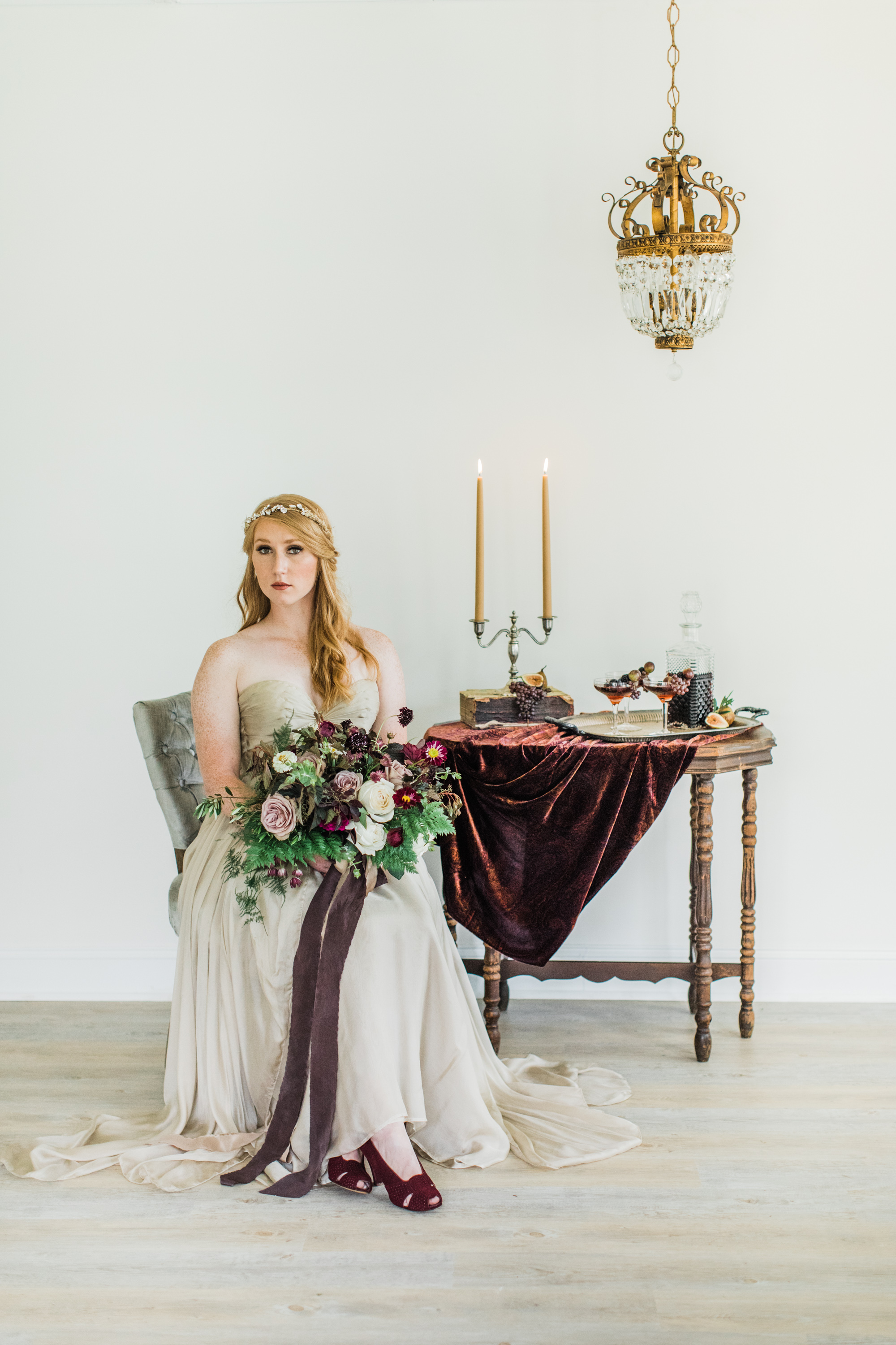 Princess perfection. Styling by jennifer of {feather + oak}, photography by  Sarah Sidwell Photography , florals by Emily Kennedy of  Kennedy Occasions ,   dress from  LVD Bridal   .