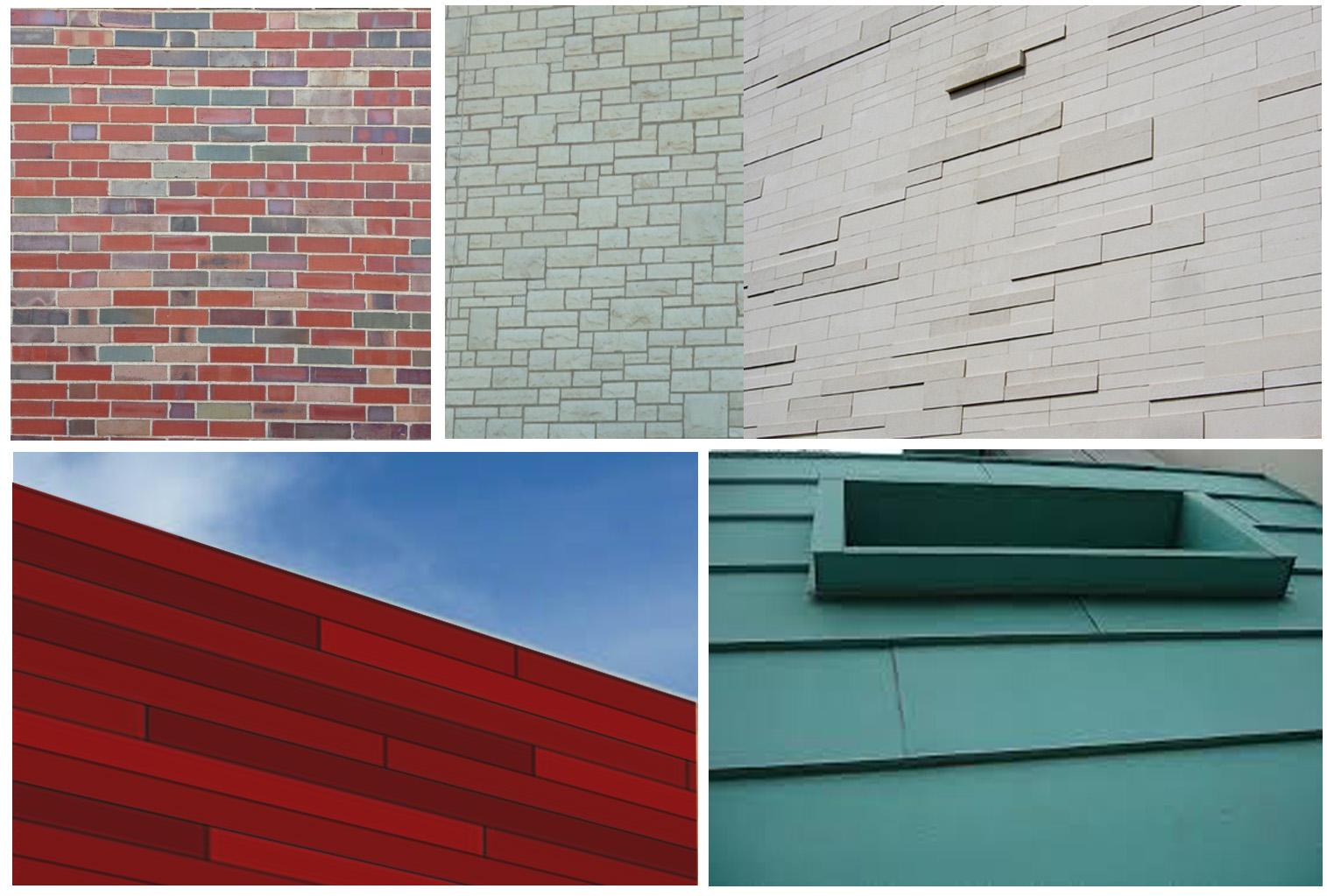 Blended brick, limestone, cement fiber panels and copper -