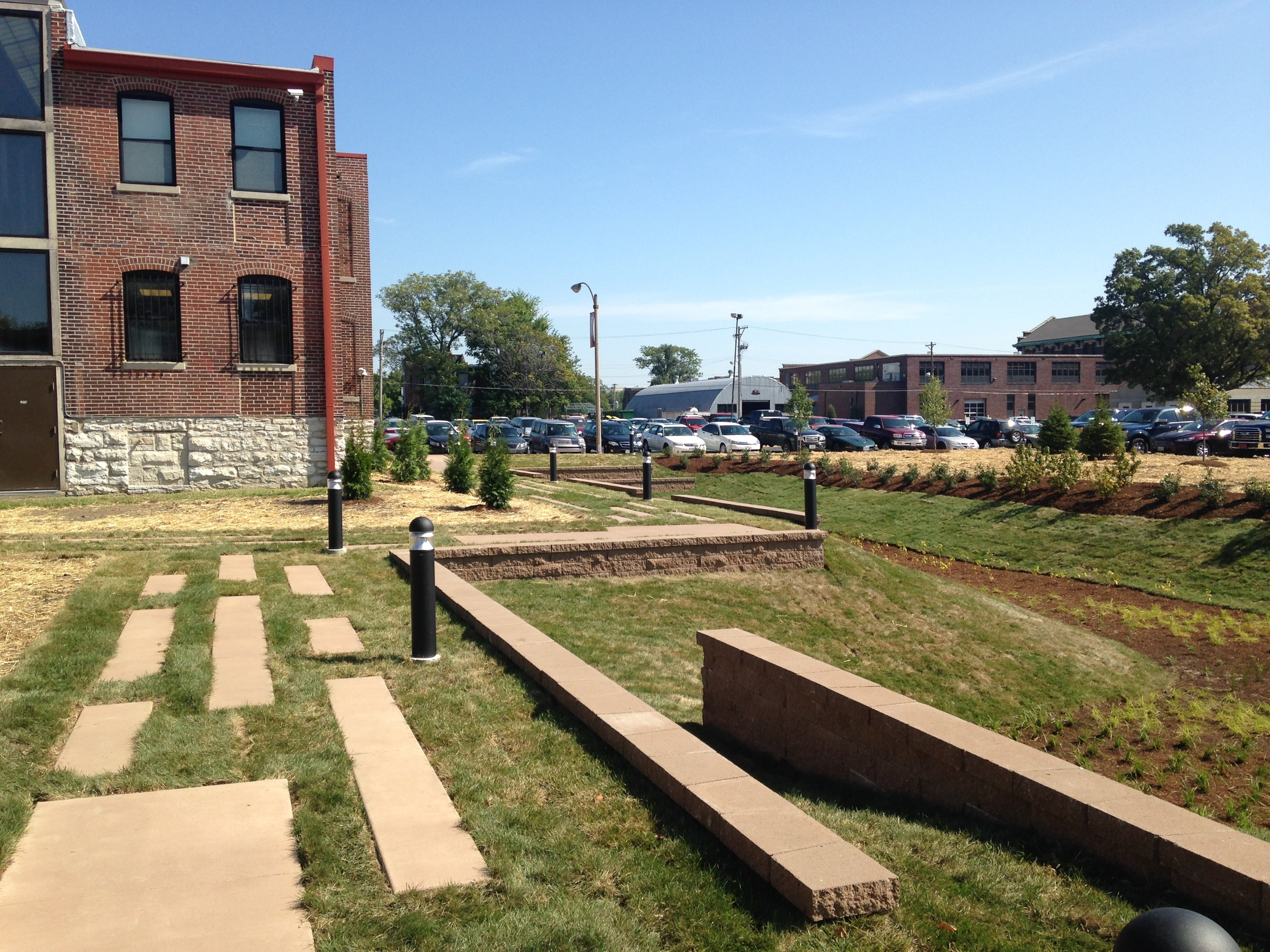 A new rain garden acts as a terminus for Ranken's mall in the St. Louis campus -