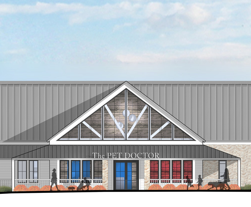 The new clinic will have a wrap-around front porch for clients and customers -