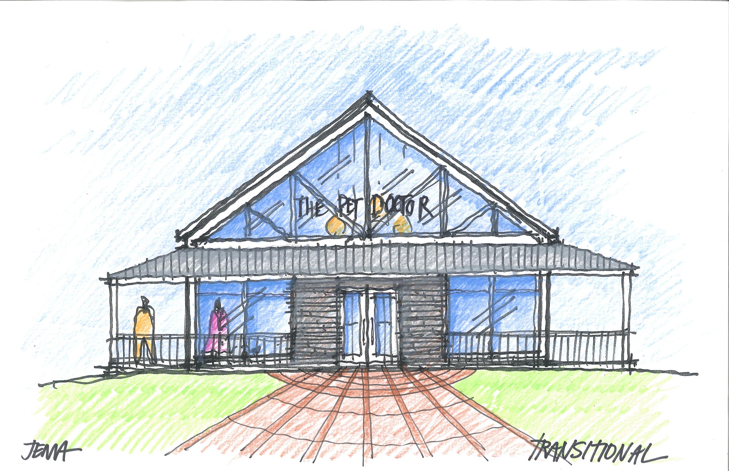 The transparent farm house - concept sketch. -
