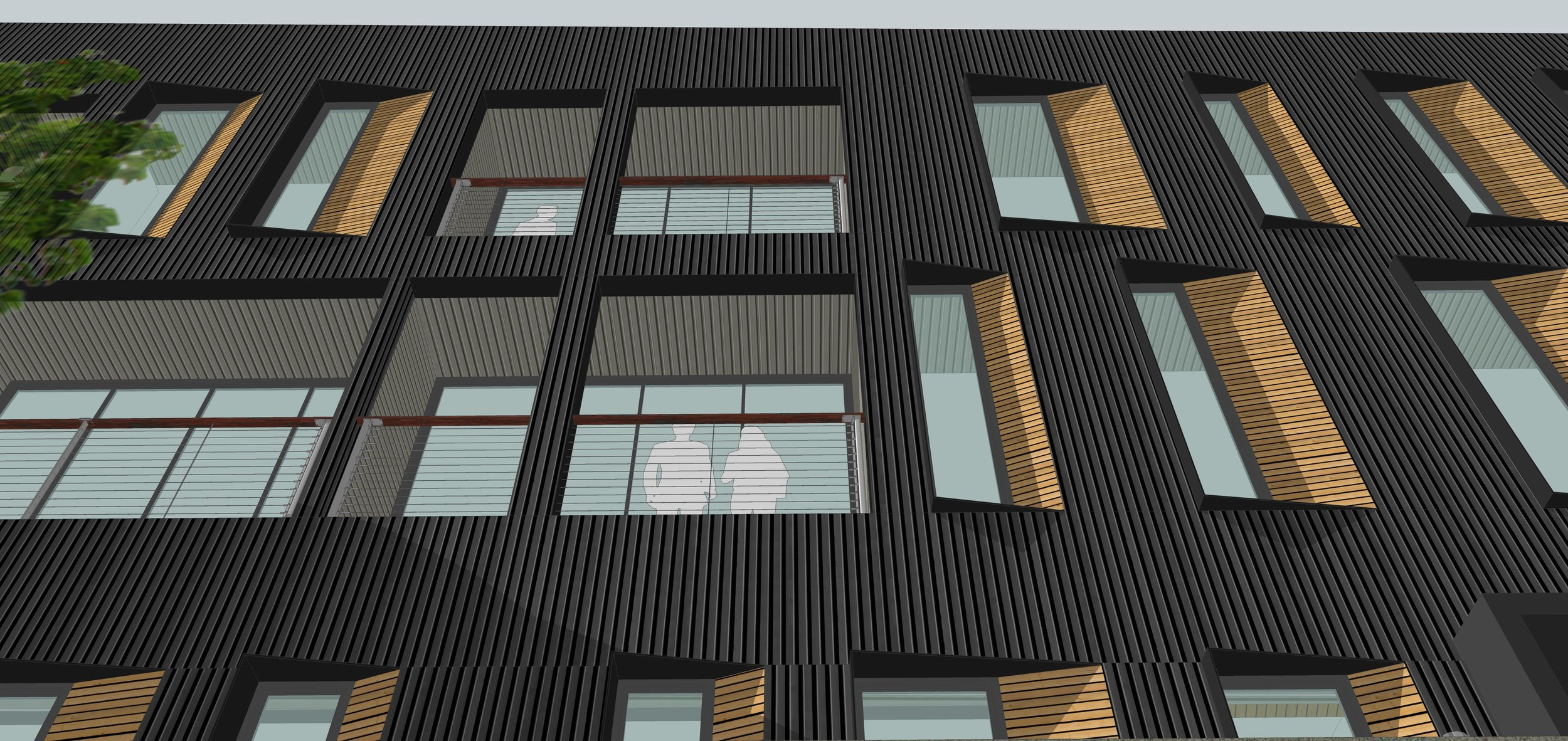 Each residence has a recessed outdoor balcony -