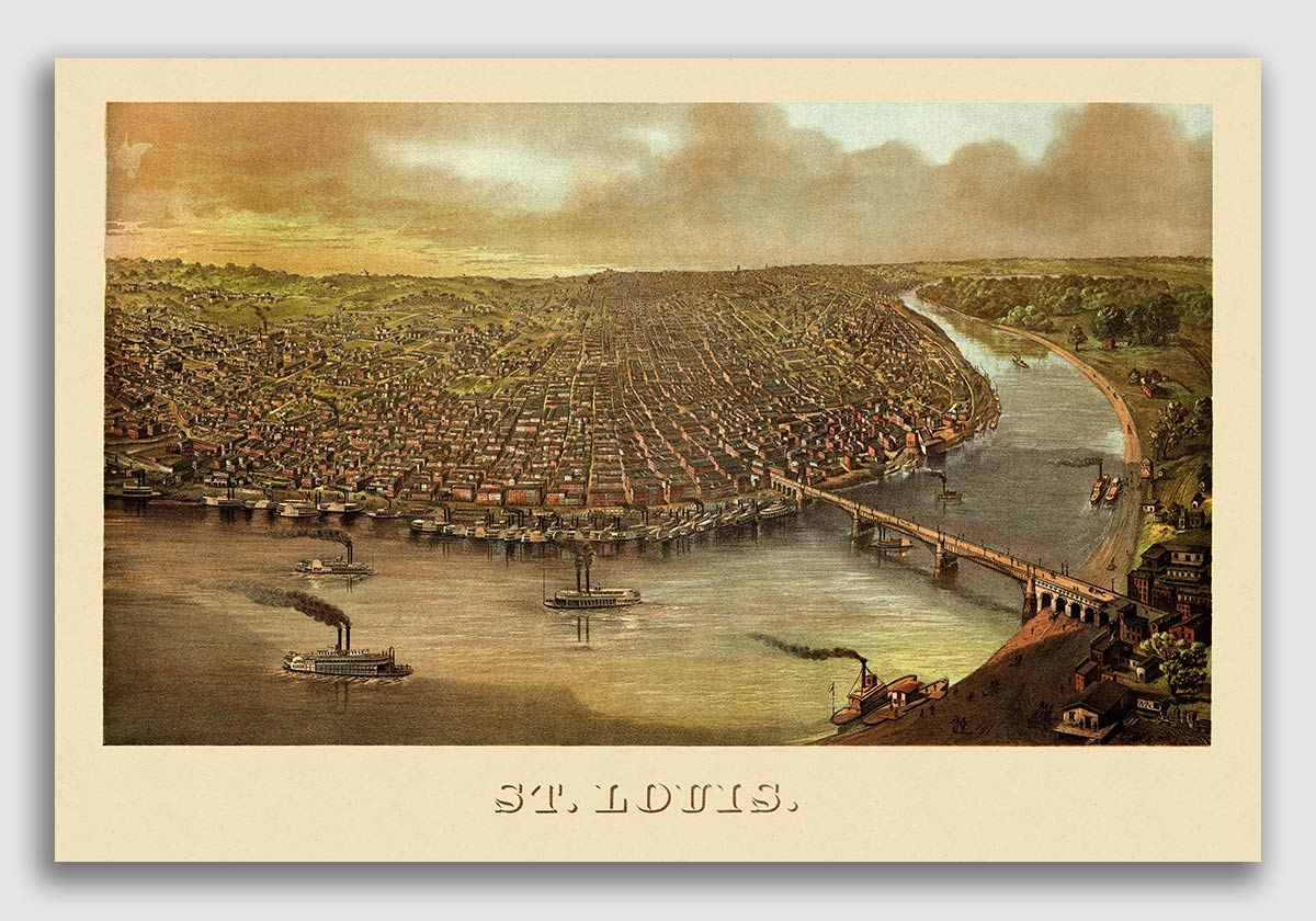 St. Louis in 1874 showcasing the new Eads Bridge. JEMA's Twin Daughters building at that time was in the rural countryside! -