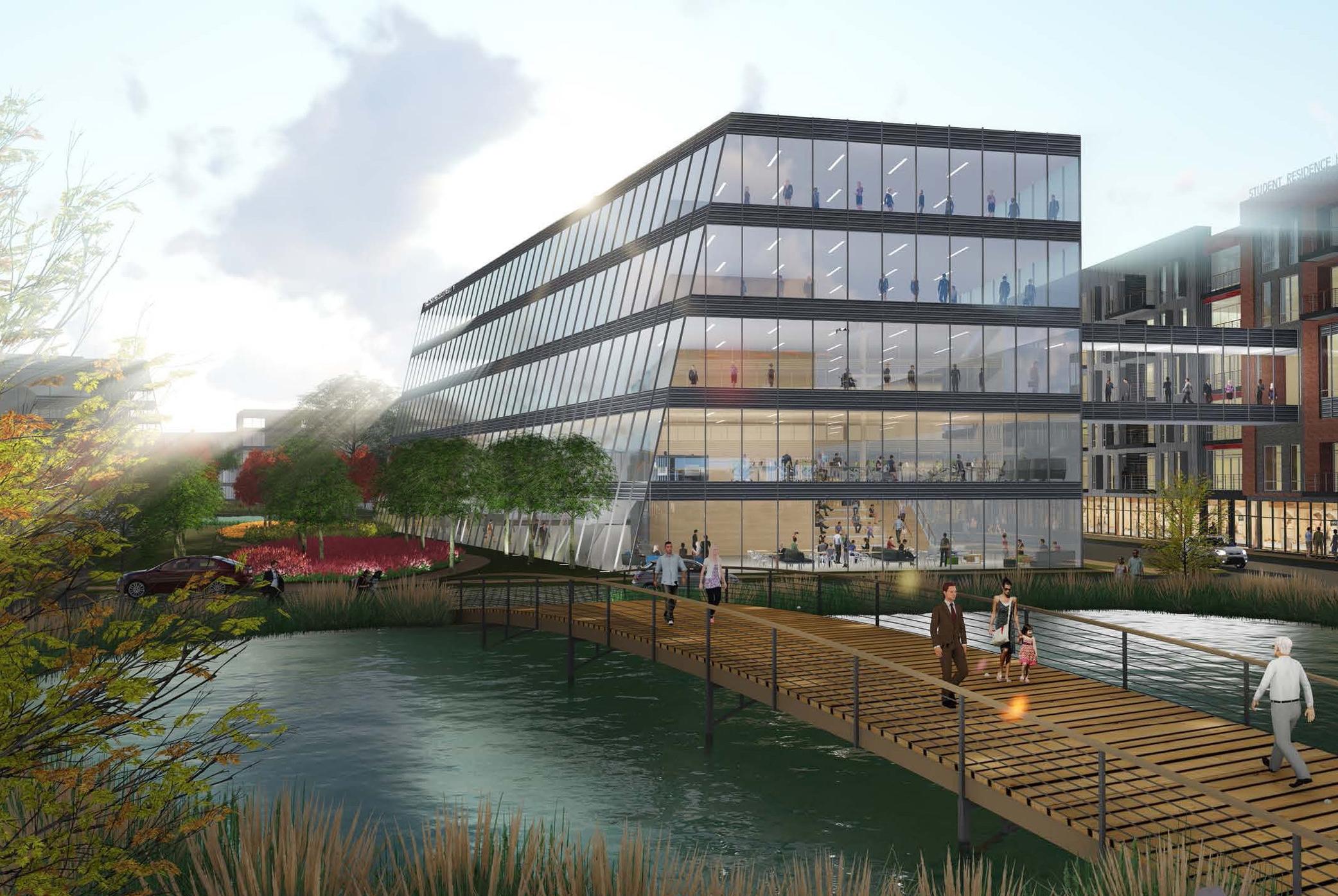 University building: glass and zinc -