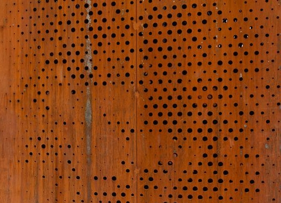 Perforated weathering steel panels -