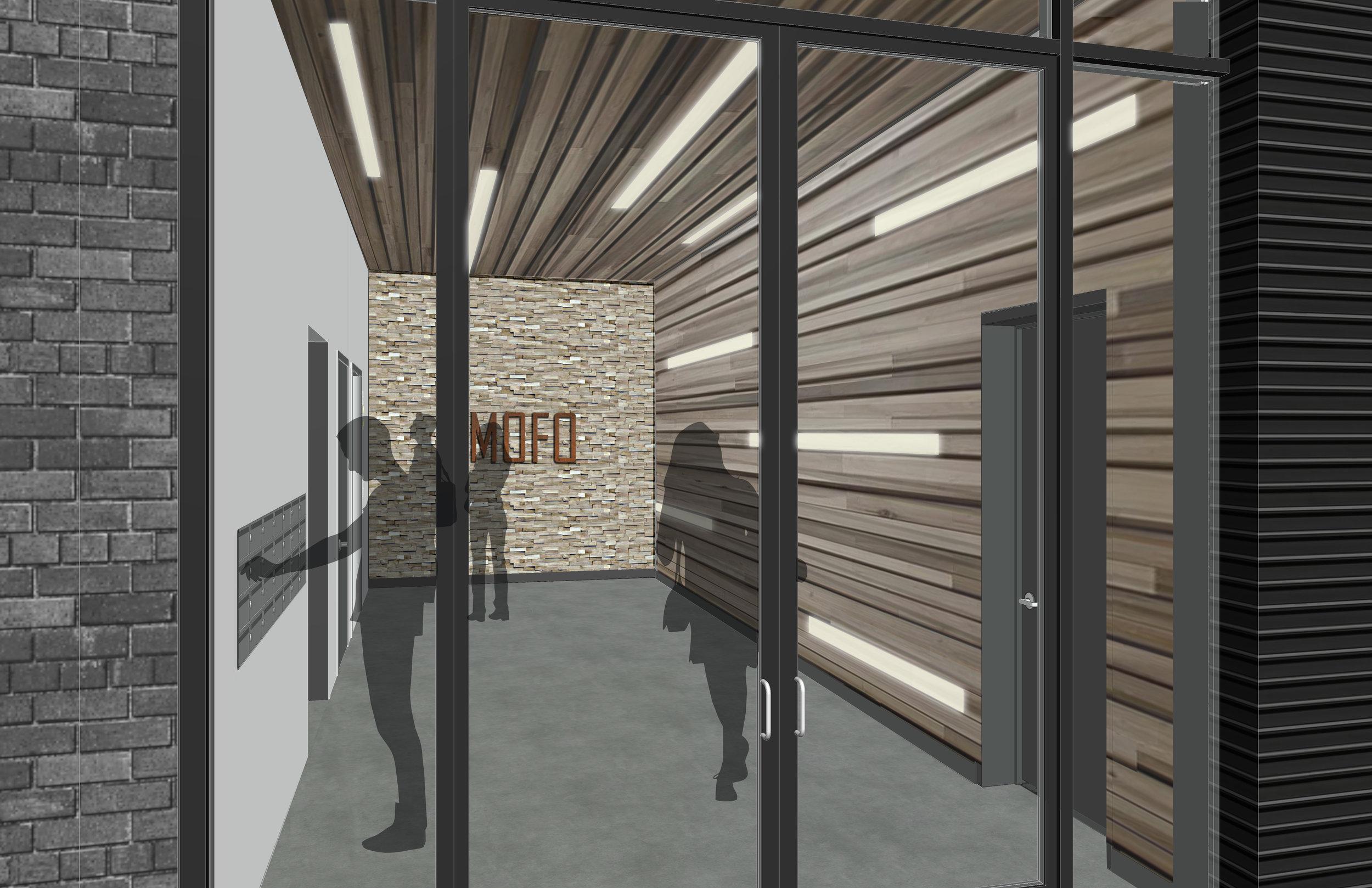 MOFO entry lobby: white oak planks, end grain and plaster -