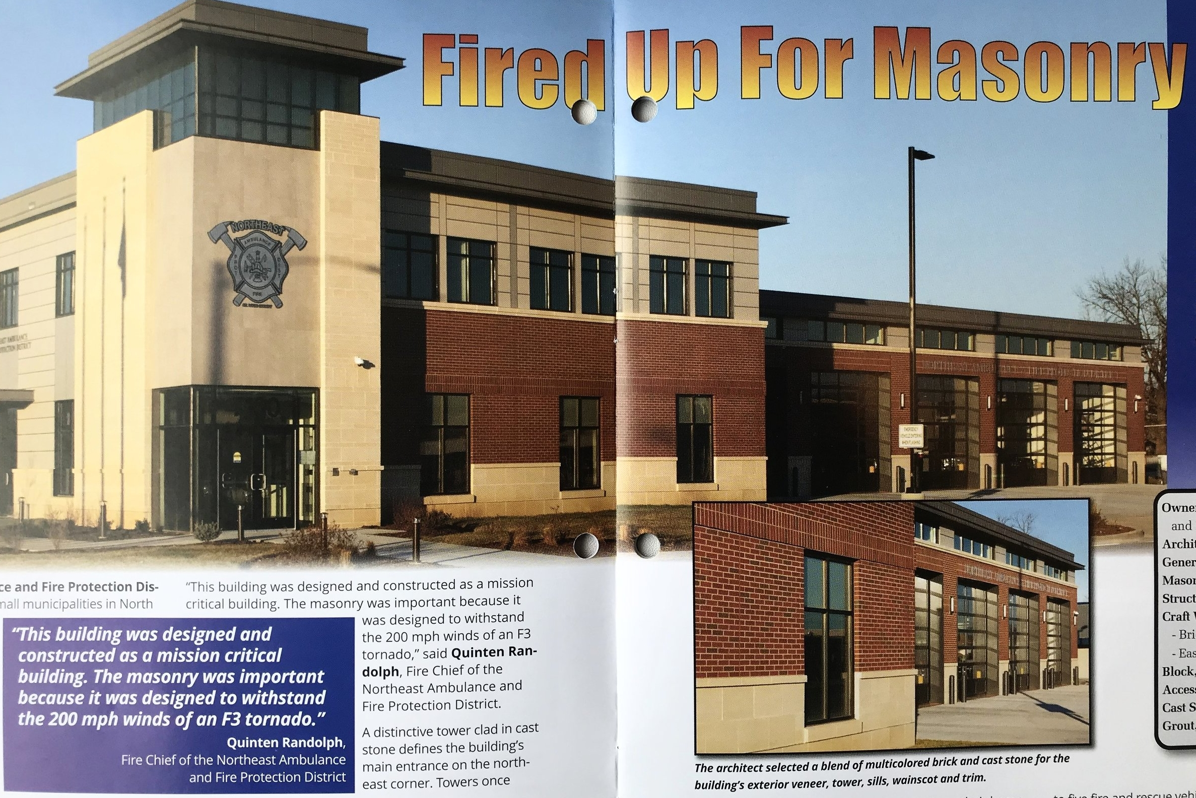 JEMA's Northeast Fire Station featured in MASONRY magazine -