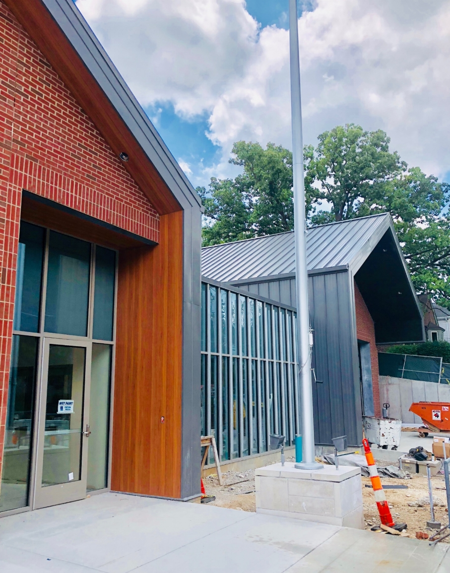 East facade of the new Fire Station. The front plaza steps down the hillside to greet the community -