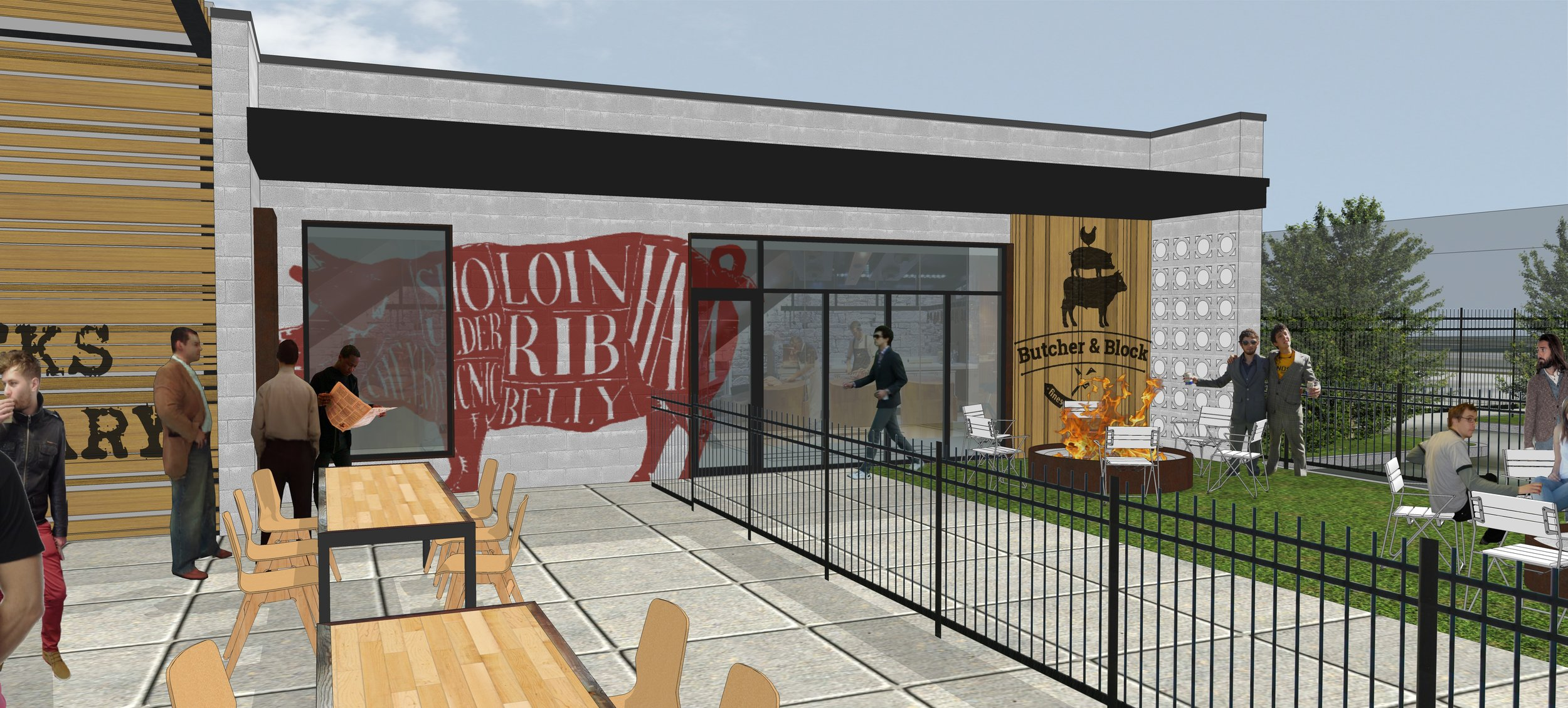 Butcher Shop and outdoor dining terrace -