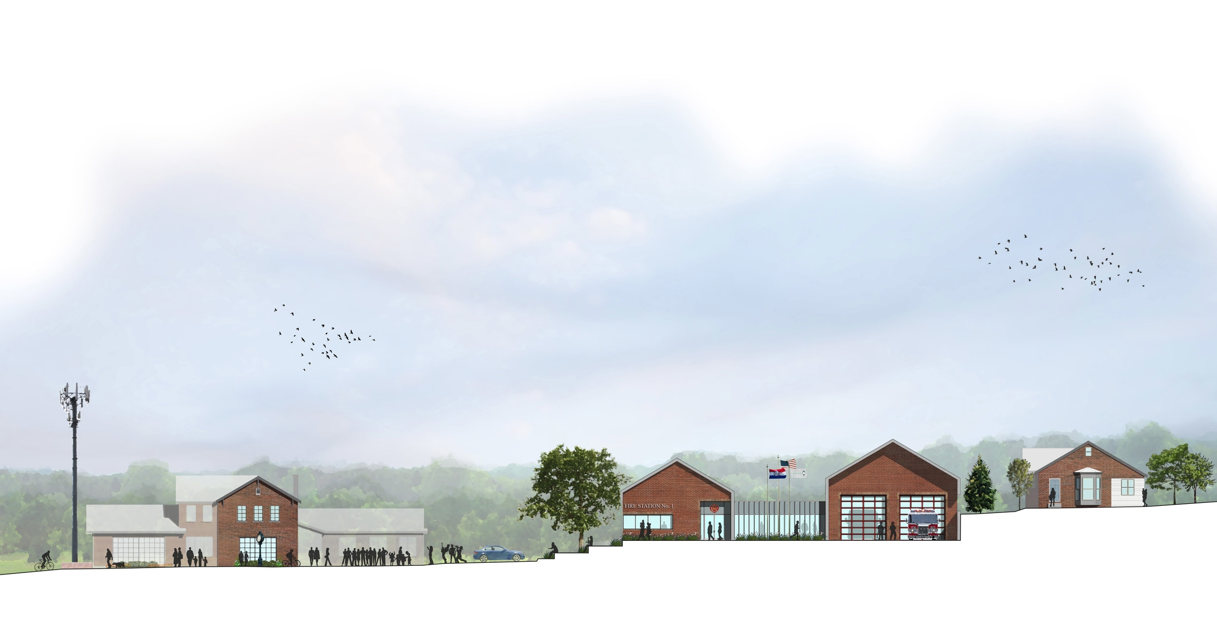 From left to right: Police HQ, City Hall (in the historic Fire House), the community plaza, limestone terracing, Fire Station, existing residence -