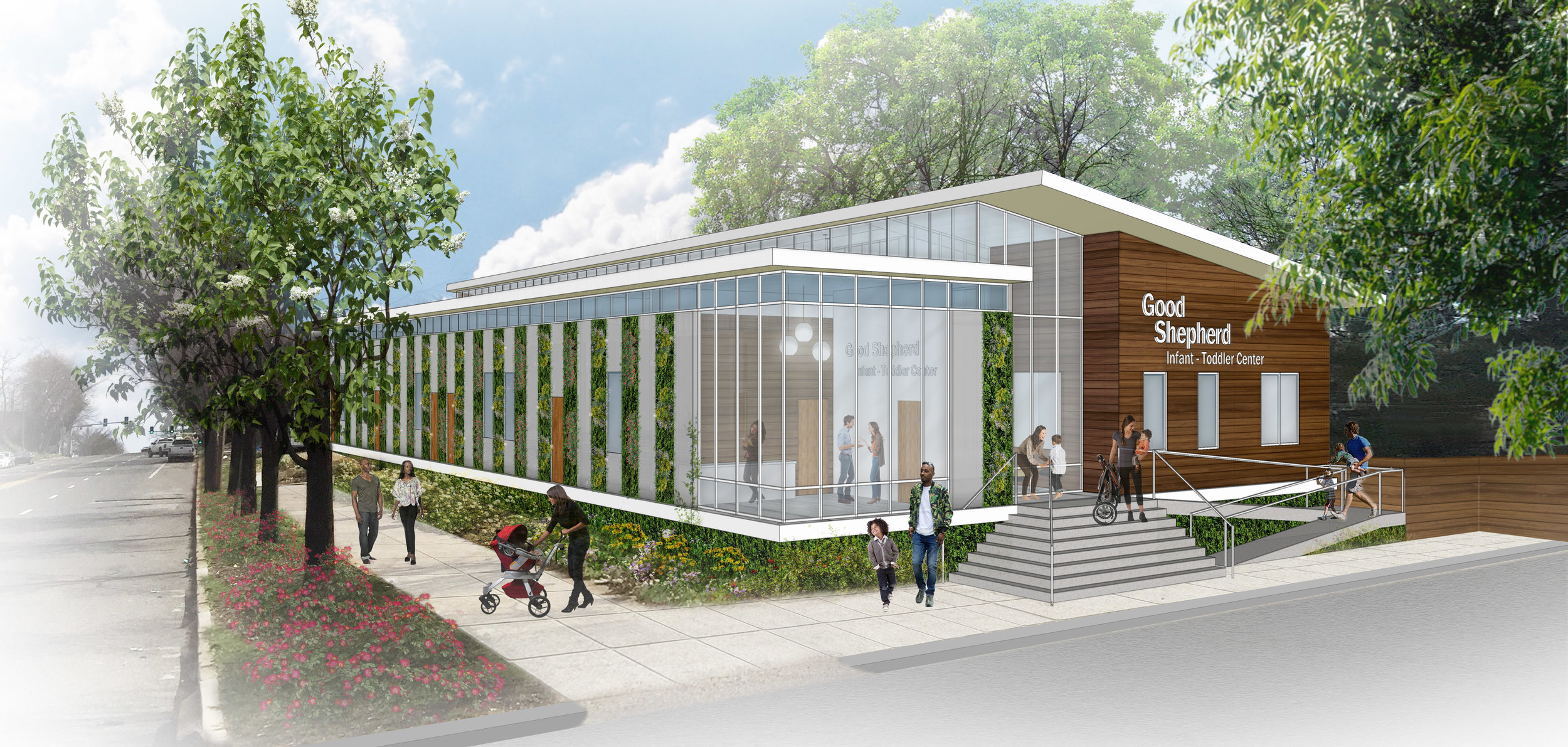 The garden grows around and on the building, enveloping it -