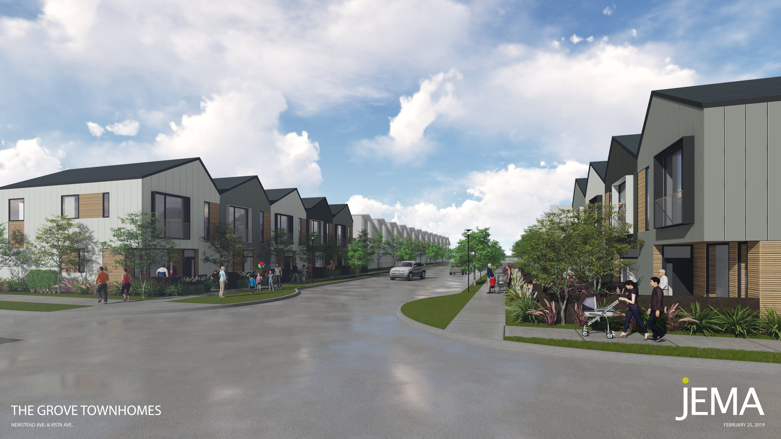 The Grove Townhomes: view looking West on Vista Avenue.