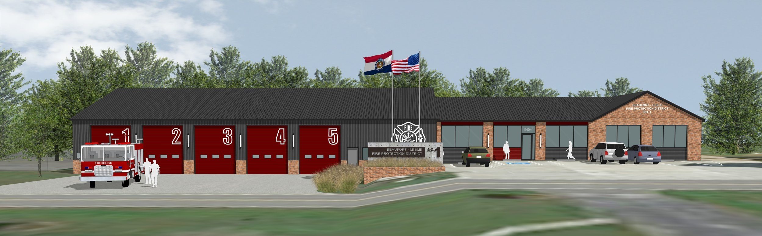 BLFPD: New building addition on the left and renovation of the existing station on the right.