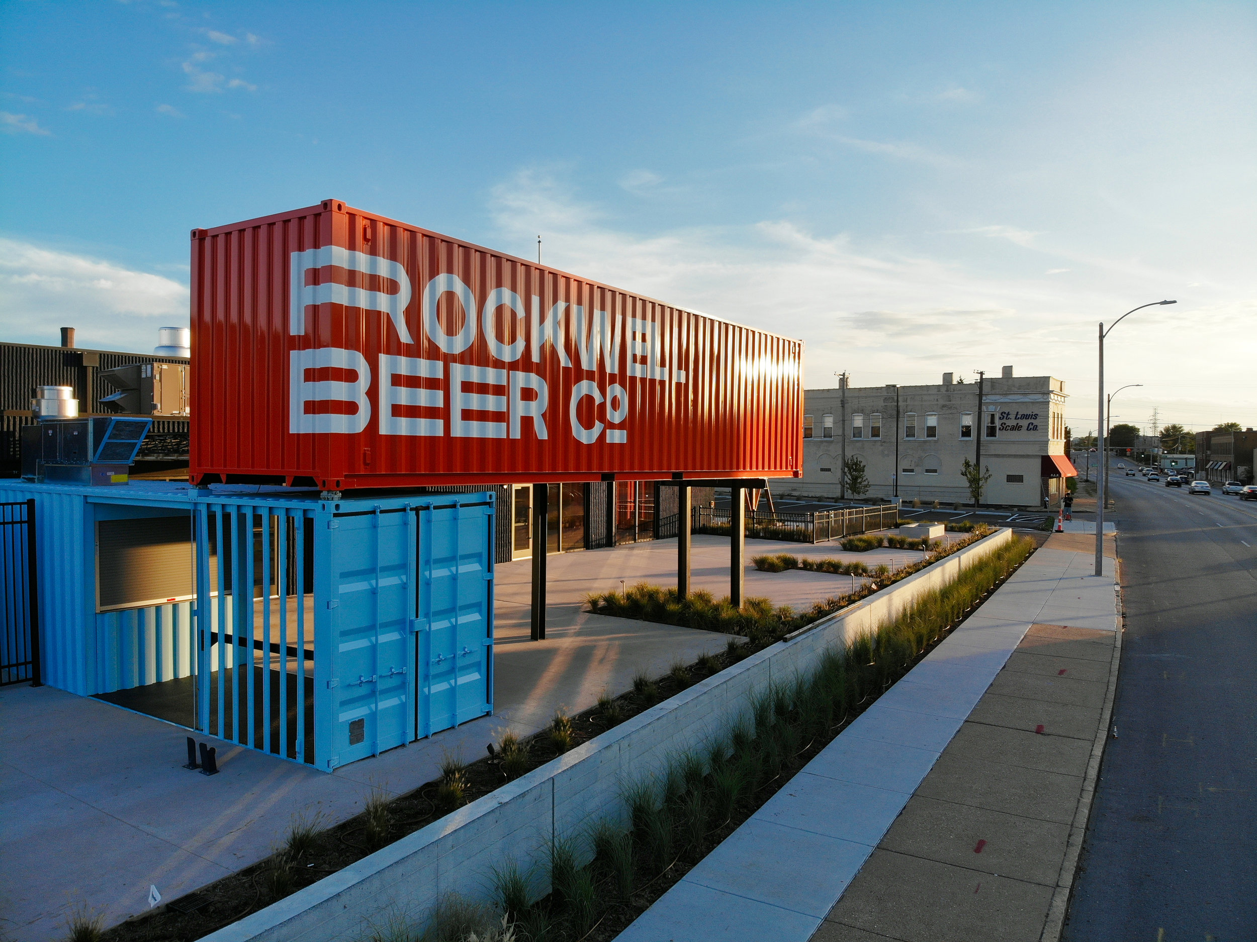 Brasswell's shipping container is situated at the north end of Rockwell's terrace.