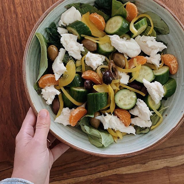 Spring Salad: Basil, pickled onions, olives, cucumbers, tangerines topped with buffalo mozzarella. Dressing: lemon juice, lemon zest, olive oil, dijon mustard, honey and shallots.