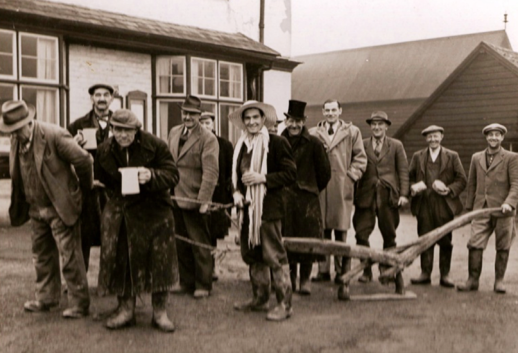Plough boys outside The Bell in 1953