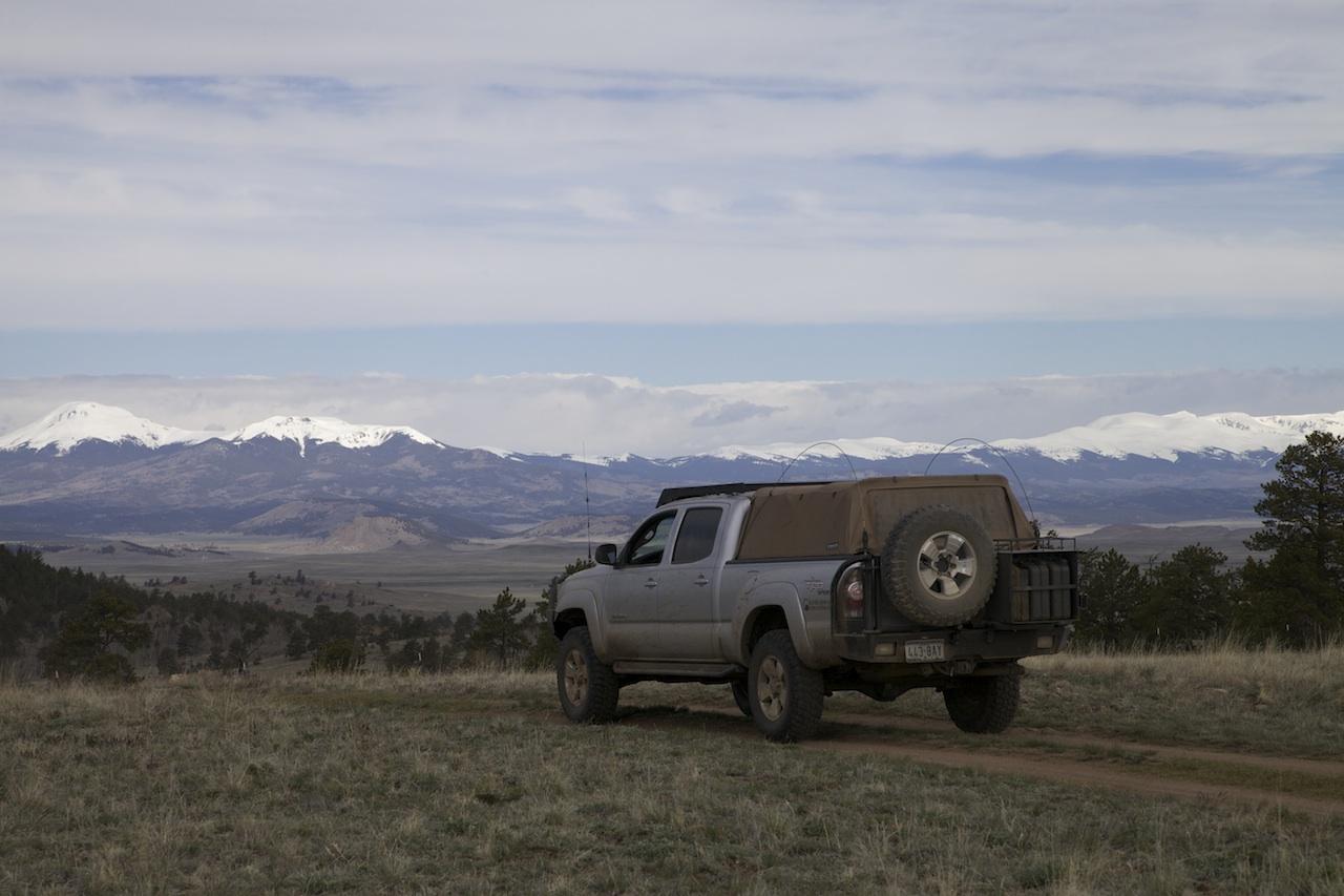 Ross Blair's Tacoma against the Colorado skyline.