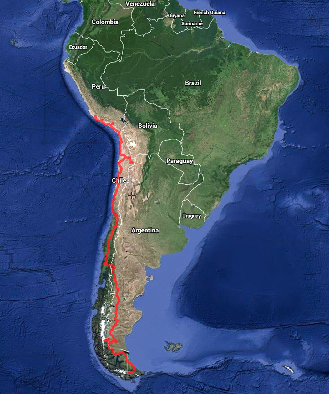 [CLICK MAP TO ENLARGE]  The journey: Ushuaia, Argentina to Arequipa, Peru, via Ruta 40 and the Pan-American Highway. 9,855 kilometers /6,124miles. 167 hours driving. 23 days total. 7 nights camping. 16 nights hostels or hotels.  Longest mileage day: 416 miles / 9 hours.  Diesel per gallon: $3.00–$4.81. Average MPG: 25.