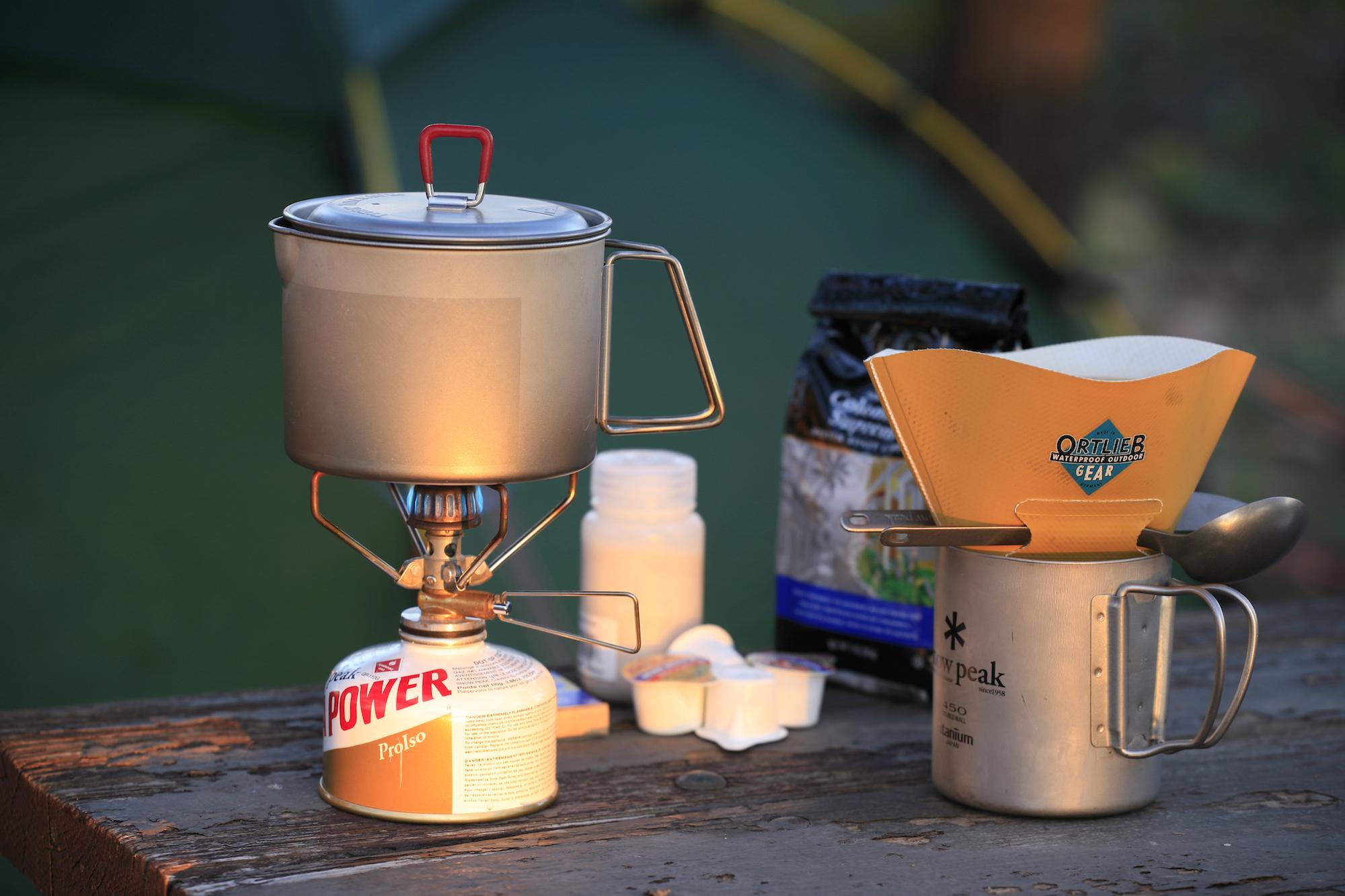 Snow Peak Giga Power stove, MSR Titan kettle, Snow Peak 450 mug, Ortlieb filter holder