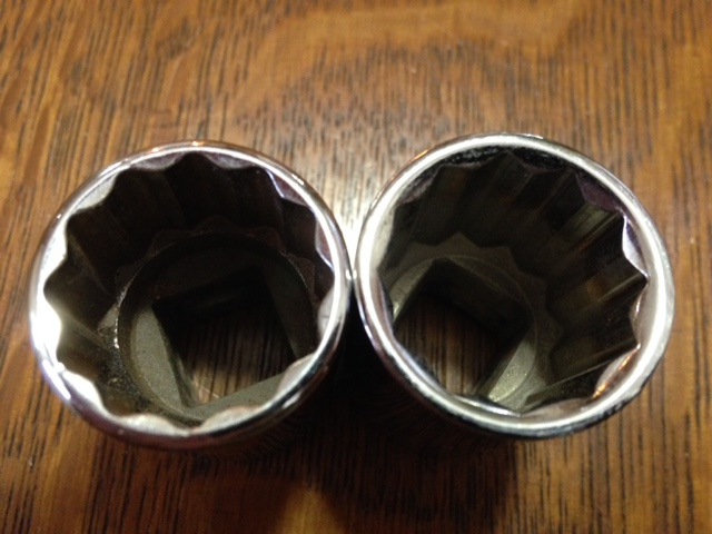 Note the radiused points on the Flank Drive socket, left.