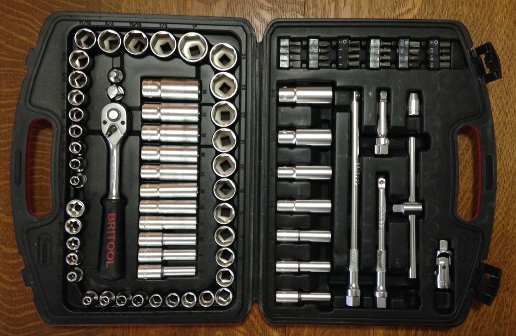 A superbly comprehensive and compact socket set from Britool, including standard and deep SAE and metric sockets, a sliding T handle, extensions, a universal joint (lower left), plus screw, torx, and hex fittings with an adapter. Sadly no longer made; the newer Britool products have diminished in quality.