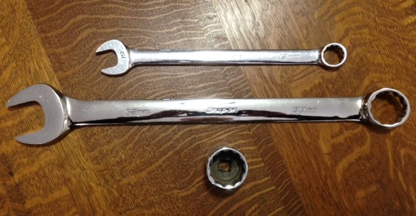 A 19mm wrench compared to the 32mm. For most needs the 32mm socket will suffice.