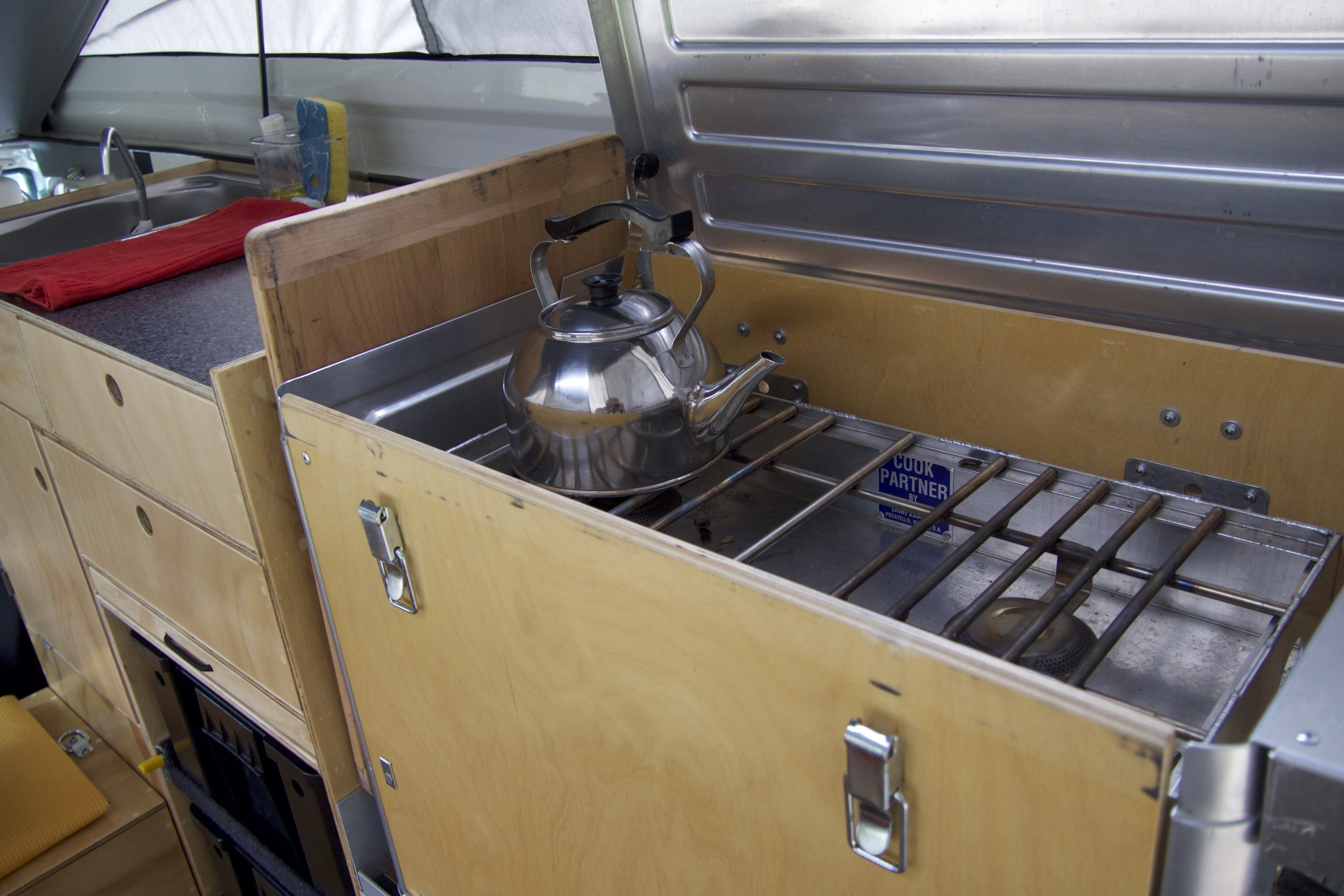 This photo shows the wood front of the Kanz closed; it is dropped for cooking.