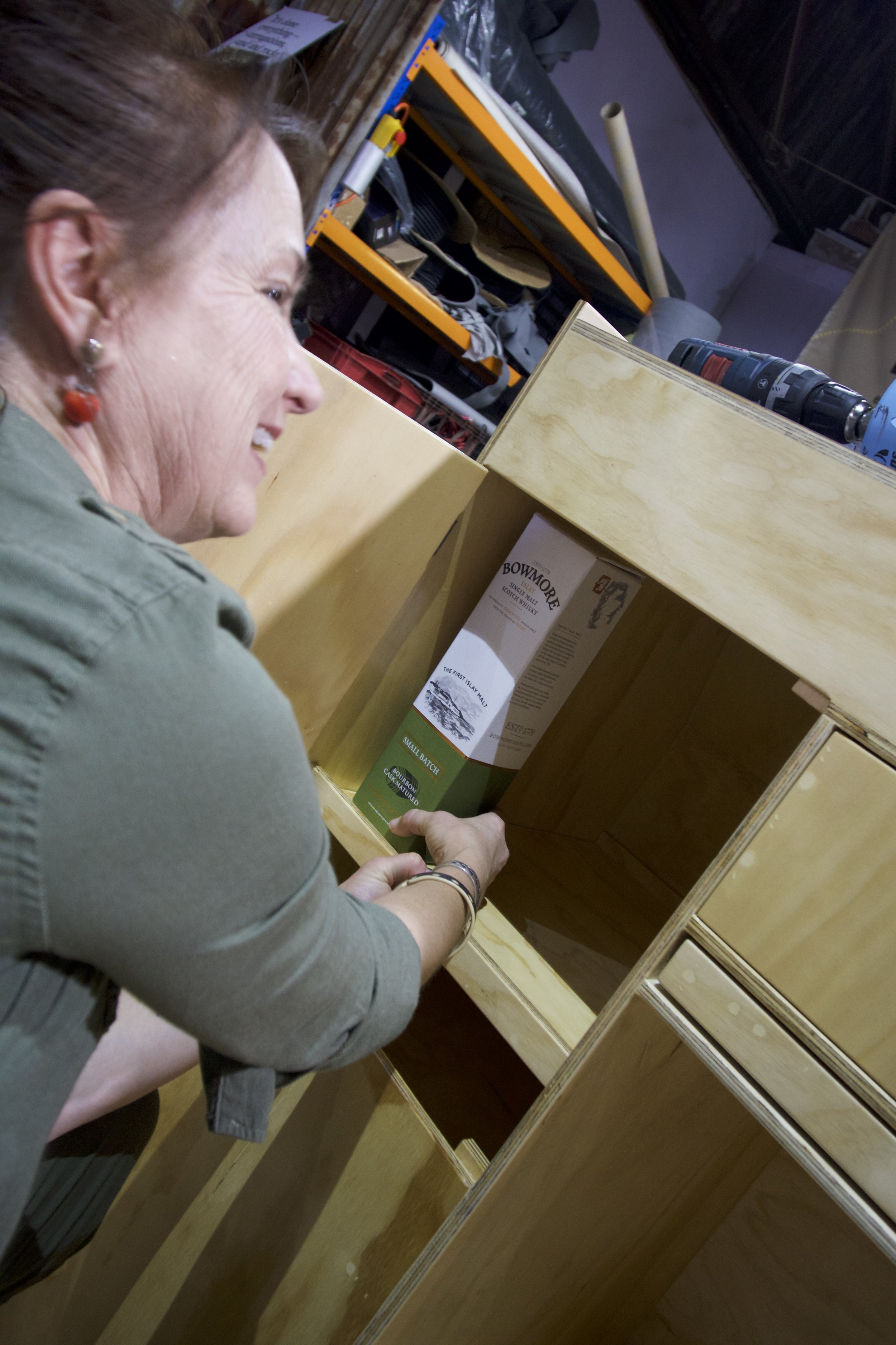Critical last-minute tests of cabinet fit.