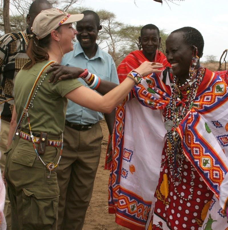 Roseann meeting with South Rift Maasai women in 2005 . . .