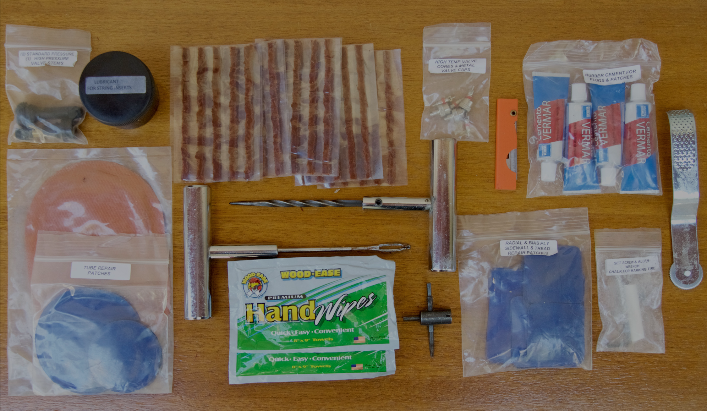 Just part of the contents of the  Extreme Outback  Ultimate Puncture Repair Kit (about $100).