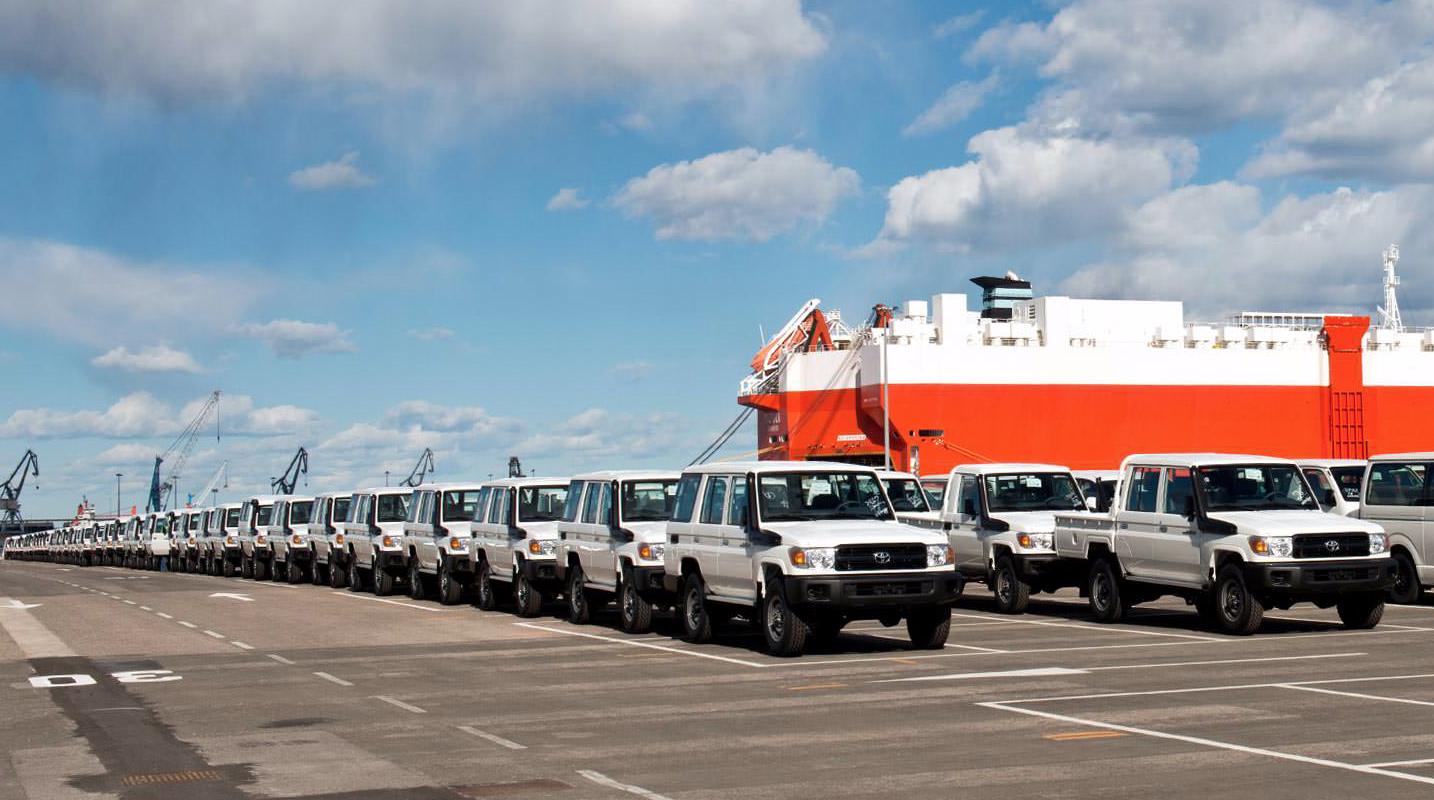 Land Cruisers at Toyota Gibraltar Stockholdings awaiting far-flung postings.