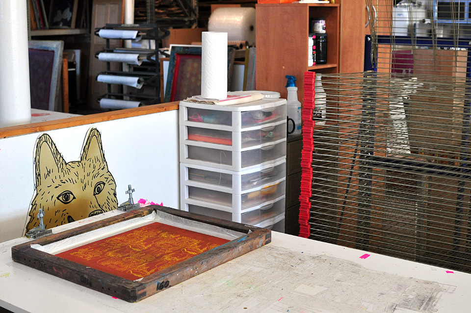 My printing table and drying rack at my studio in POST.