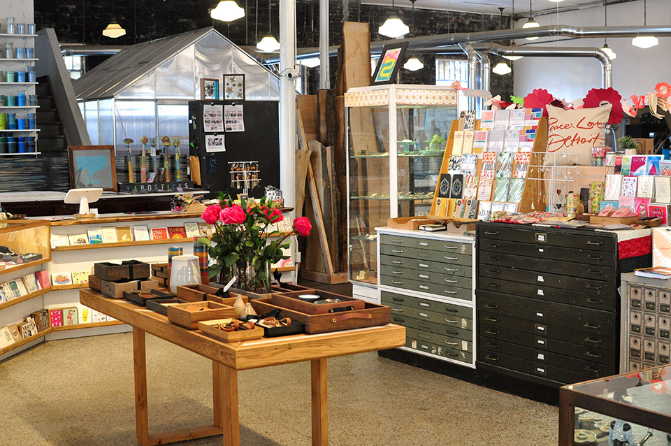 POST's retail space, full of handmade goods by mostly Michigan makers.