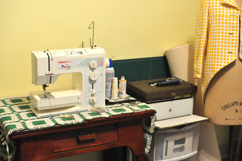 Sewing machine at home.