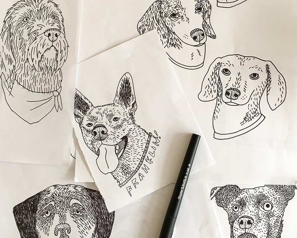 I make the drawings by hand with a felt tip pen on paper
