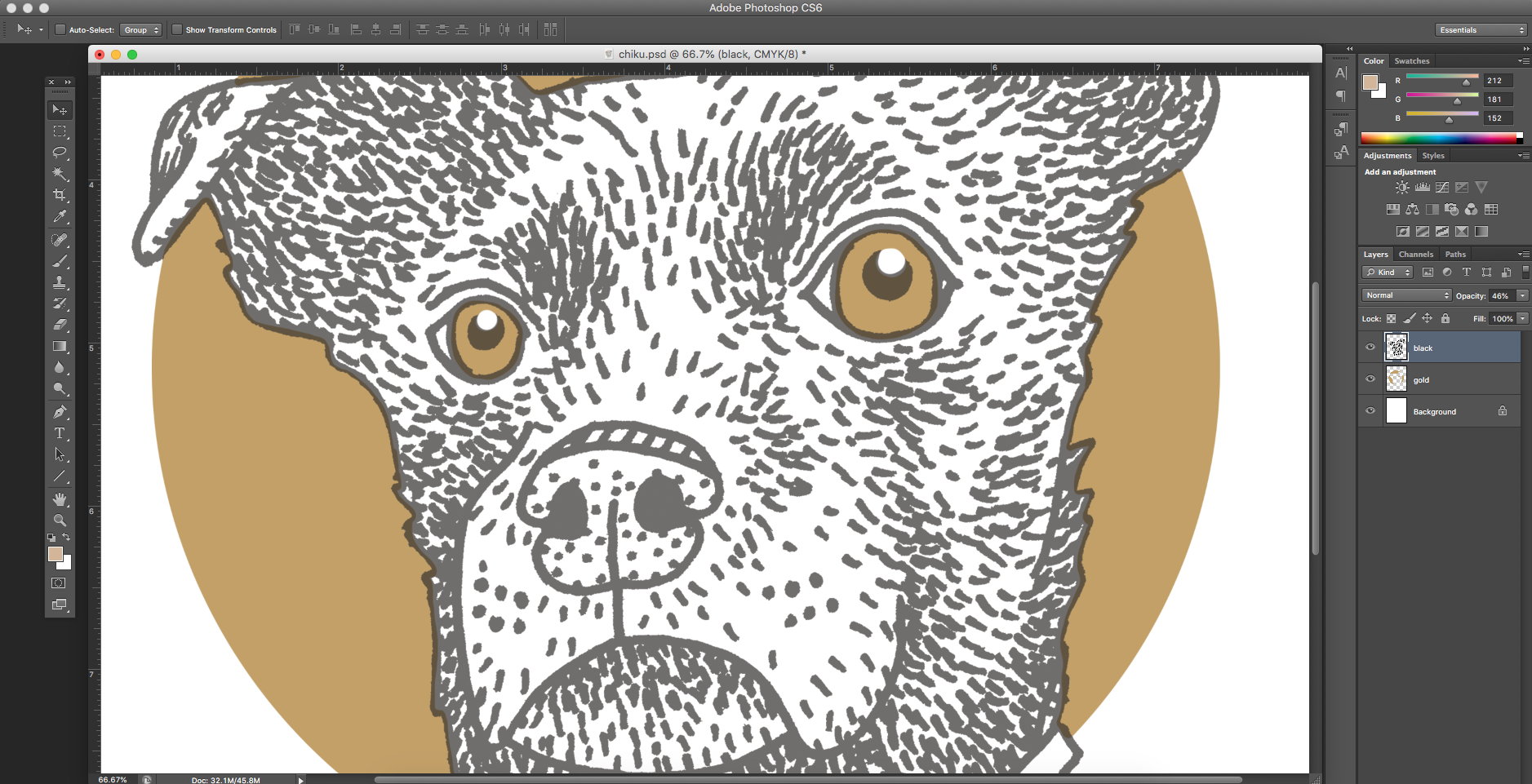 Working on the layers in Photoshop