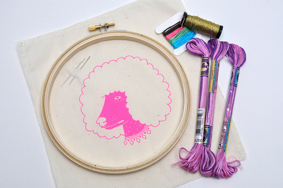 A Standard kit includes all of the above: printed fabric, embroidery hoop, all necessary floss, two needles, and a felt piece for the backing