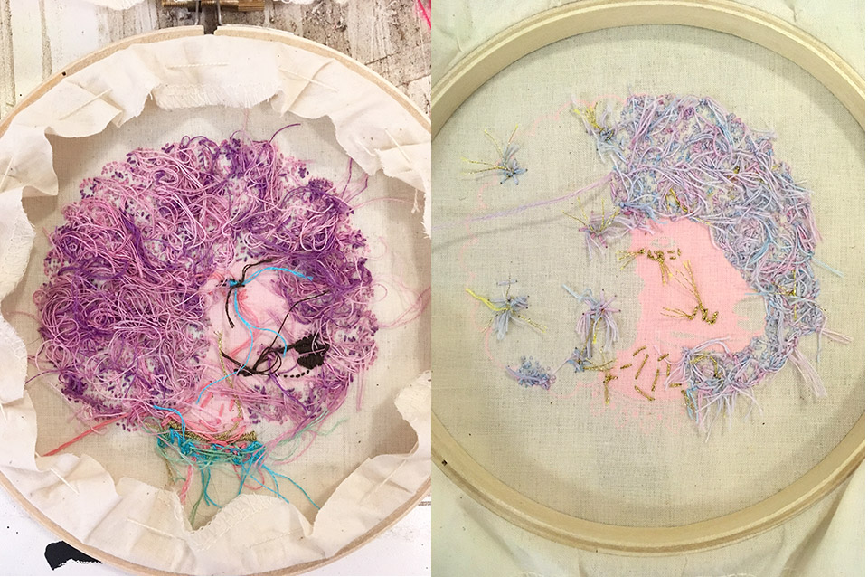 Some believe the back of embroidery should look as neat as the front — mine left; Amber's right