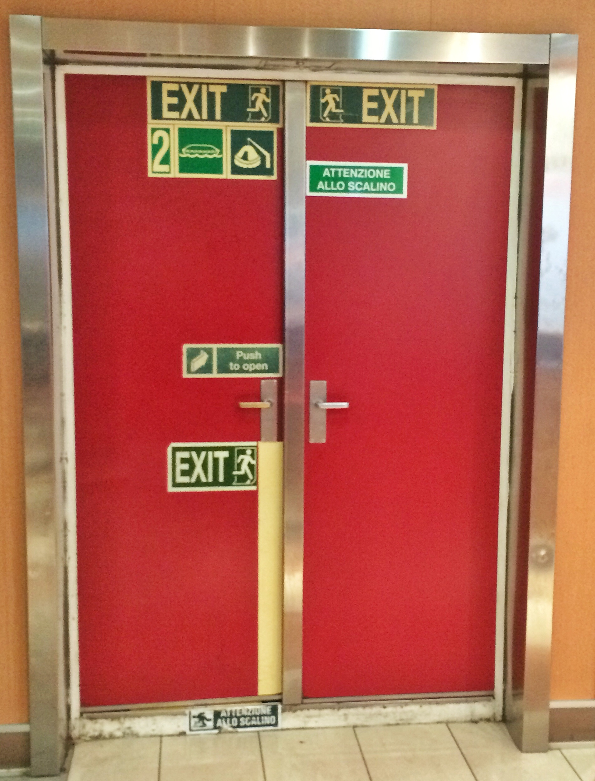 I'm not entirely sure about the purpose of this door. Is it possibly an exit? It needs another sign to make it clear.
