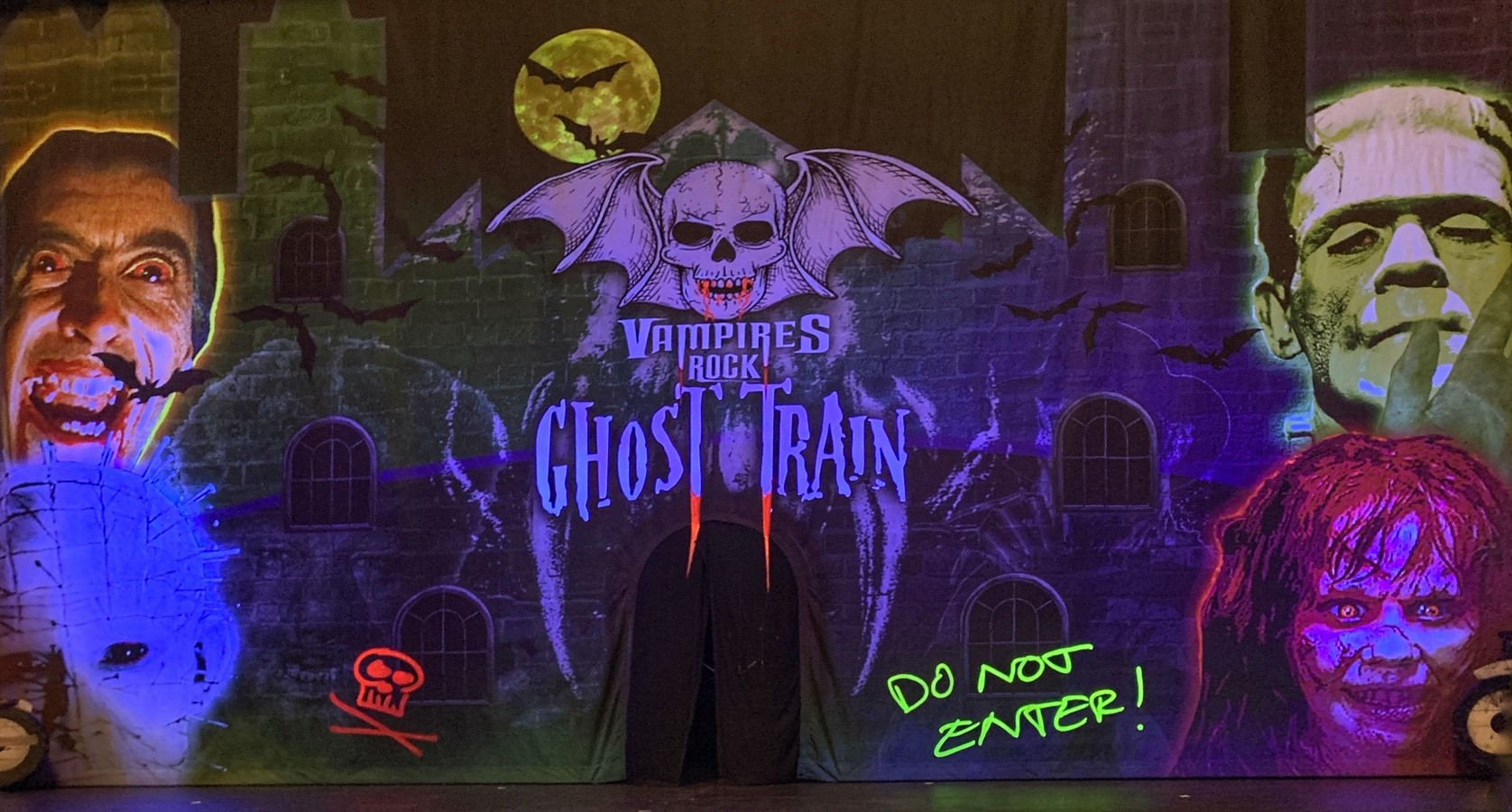Vampires Rock Ghost Train stage curtain