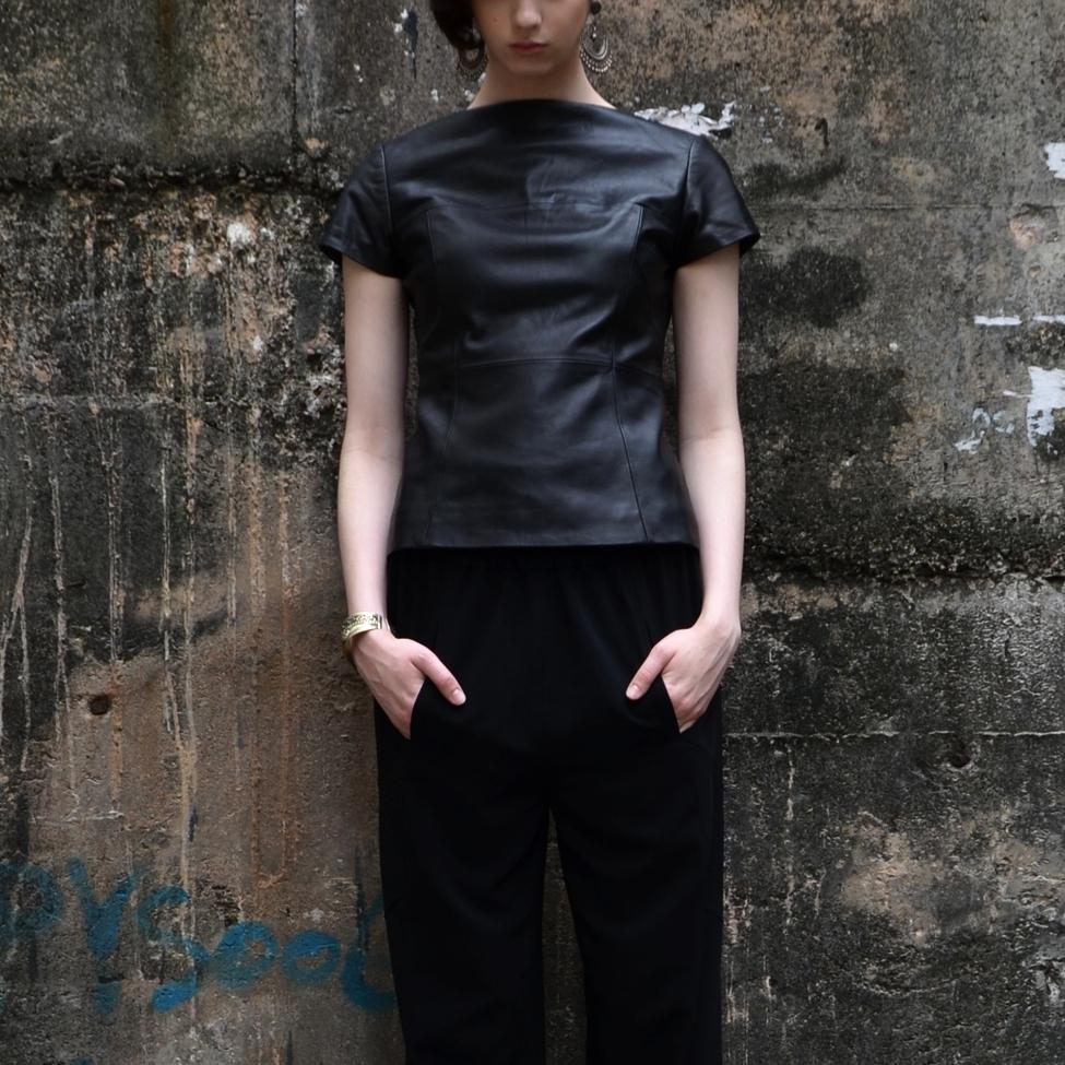 Honai Leather Top Warrior Pant Wall 4x6.jpg