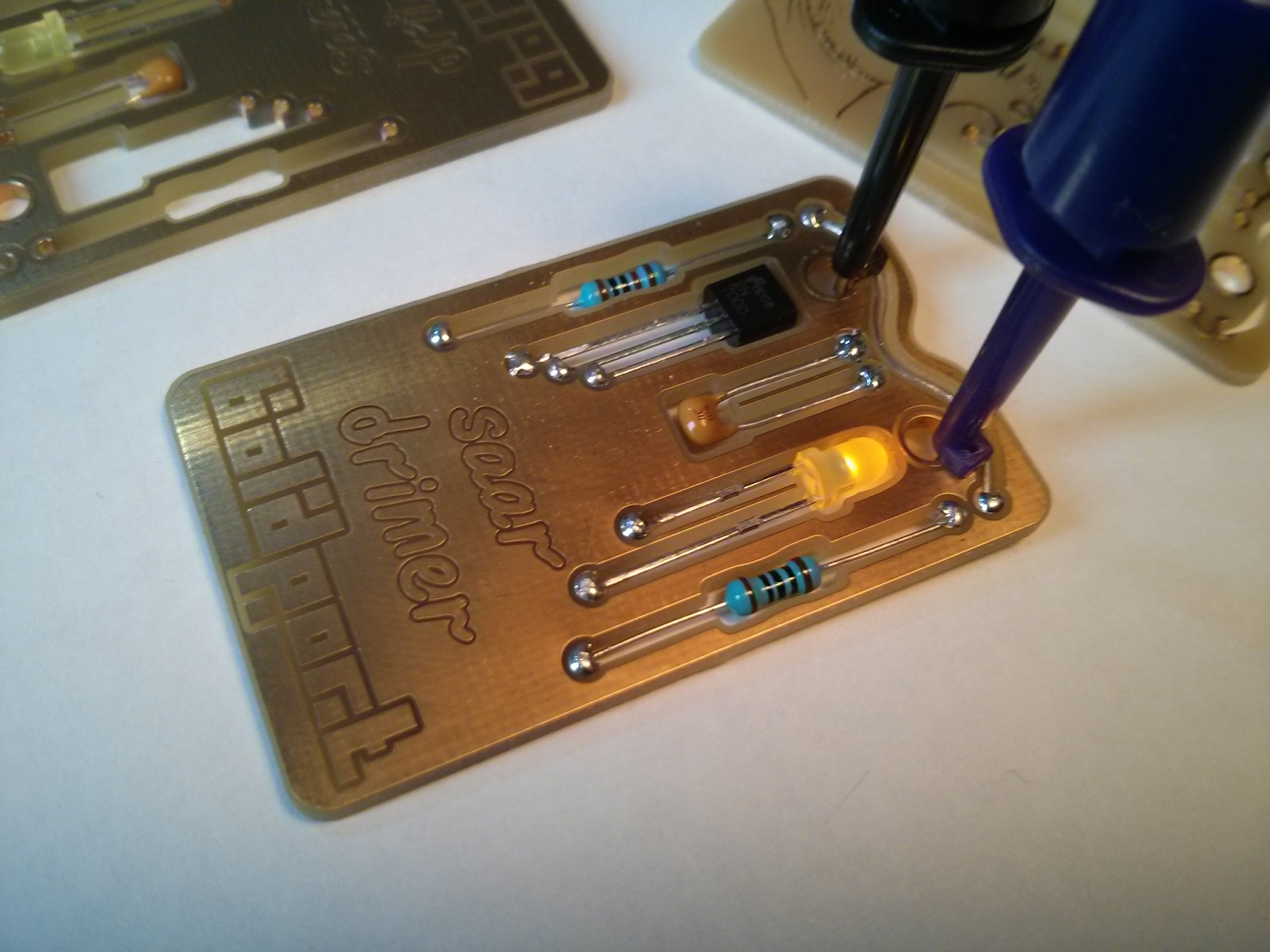 It's a functional circuit! The LED lights up when you apply power.
