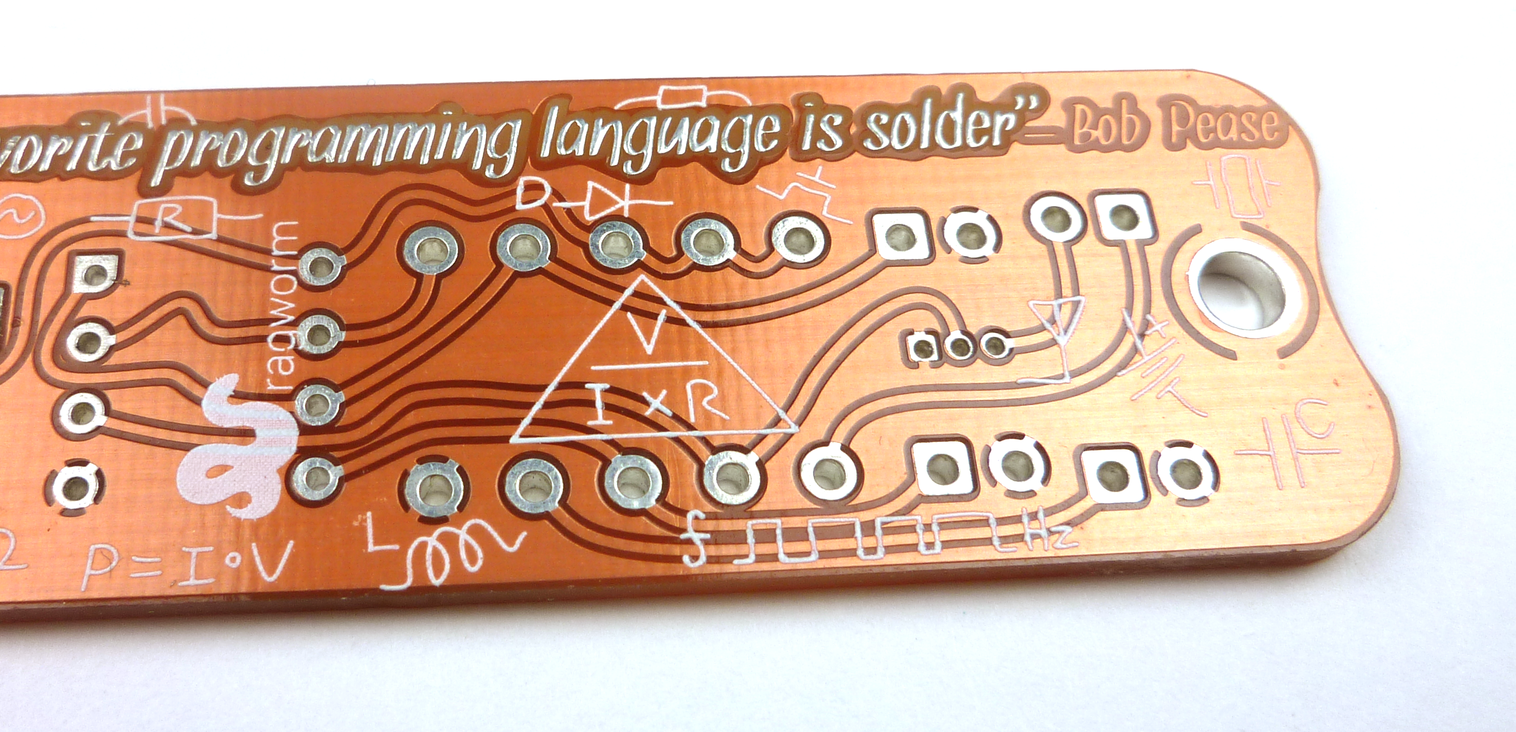 An early prototpe of an educational board made by Ragworm. Notice the randomly placed logo and name added to the design