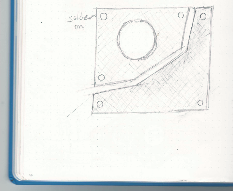 One of my first concept drawings. At this stage already I decided to go with an audio desk profile as a reference to Calrec's products. I was playing with having two pieces, one for the circuit (bottom right) and another for mounting the speaker. The hole is for the the speaker's back to sit in; the surrounding holes is for mounting the speaker/board to other things.